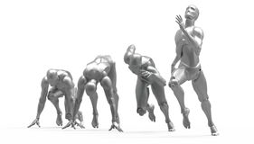 Three dimensional white human run Stock Photography