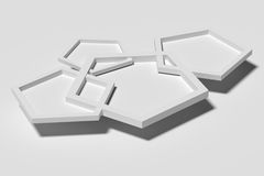 Three-dimensional white pentagons casting shadow Stock Photos