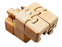 Three dimensional wooden mechanical puzzle Stock Photo