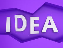 Word Idea. Three-dimensional word Idea in the zig-zag frame on the purple wall Royalty Free Stock Image