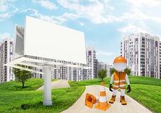 Three-dimensional worker by billbord on road Royalty Free Stock Images