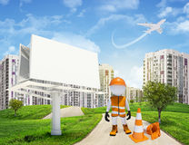 Three-dimensional worker by blank billbord on road Stock Images