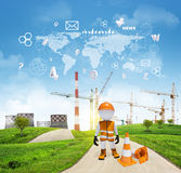 Three-dimensional worker standing on road running Royalty Free Stock Images