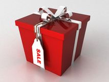 Three dimensional wrapped gift box with sale tag Stock Photos