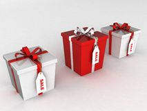 Three dimensional wrapped gift boxes Royalty Free Stock Images