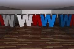 Three dimensional www letter Royalty Free Stock Image