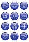 Three dimensions blue glass cartoon zodiac icon in line design Stock Photography