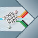 Three dimensions cubes artistic designed with ornamental, arabesques faces Stock Image