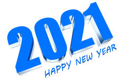 3D 2021. Three dimensions happy new year 2021 Stock Photography