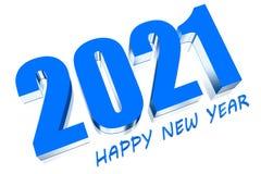 3D 2021. Three dimensions happy new year 2021 stock illustration