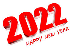 3D 2022. Three dimensions happy new year 2022 Royalty Free Stock Photo