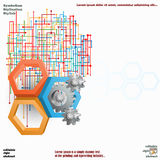 Three dimensions hexagons with cog wheels and colorful web Stock Photos