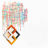 Three dimensions squares in artistic design; Technological web in elaborate arrangement. Royalty Free Stock Photo