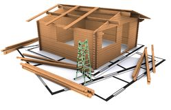 Three dimentional house standing on the plan Stock Photography