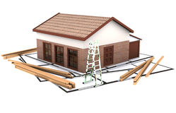 Three dimentional house standing on the plan Stock Image