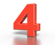 Three dimentional red number collection - four Stock Photos