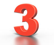Three dimentional red number collection - three Stock Photo