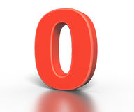 Three dimentional red number collection - zero Stock Photos