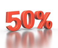 Three dimentional rendering of fifty percent Royalty Free Stock Photo