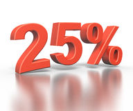 Three dimentional rendering of twenty five percent Royalty Free Stock Image