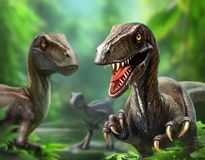 Three dinosaurs velociraptors in nature. Three fossil dinosaurs in cycling traps in nature walk, hunt an illustration for scientific articles royalty free stock photo