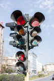 Three-directional Traffic lights Royalty Free Stock Photography