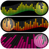 Three Disco Music Banners Stock Photography