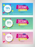 Three discount Voucher template layouts vector illustration