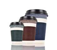 Three disposable coffee cups Stock Photo