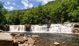 Three distinct waterfalls at High Falls of Cheat Royalty Free Stock Photo