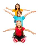 Happy kids waiving hands Royalty Free Stock Photo