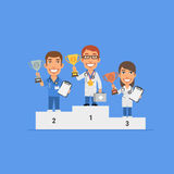 Three doctors holding cup stand on pedestal and smiling Royalty Free Stock Photos