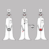 Three doctors of the skeleton in white coats. Royalty Free Stock Photos