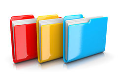 Three Document Folders. Three Colorful Red, Yellow and Blue Document Folders on White Background 3D Illustration vector illustration