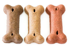 Three dog biscuits Stock Photography