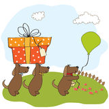 Three dogs that offer a big gift. Birthday greeting card Royalty Free Stock Image