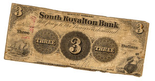 Three dollar bill. Genuine three dollar bill united states currency issued by the state of Vermont in 19th century Stock Photos