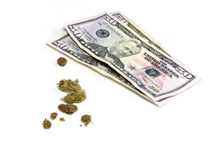 Three 50 dollar bills and pot Stock Photos