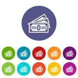 Three dollar bills set icons Royalty Free Stock Image