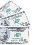 Three 100 dollars greenbacks Royalty Free Stock Photography