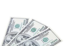 Three 100 dollars greenbacks Royalty Free Stock Image
