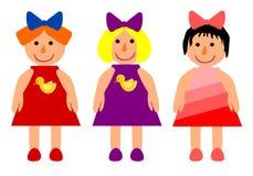Three dolls. Three smiling dolls -  illustration Stock Image