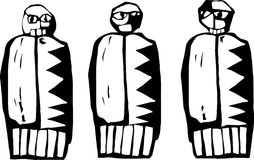 Three Dolls. In the style of Native Pictographs Stock Image