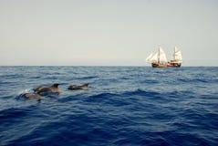 Three dolphin and the ship Stock Photo