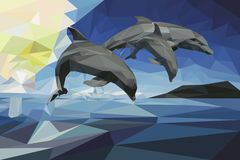 Three dolphins on the horizon stock illustration