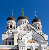 Three domes ofAlezander Nevskiy Cathedral in Tallinn stock photo