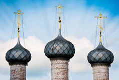 Three domes of russian church. Stock Photography