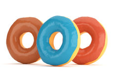 Three donuts in color glaze Royalty Free Stock Image