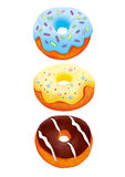 Three donuts illustration with clipping path Royalty Free Stock Photo