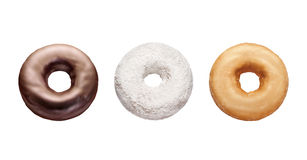 Three Donuts Isolated on white Stock Images